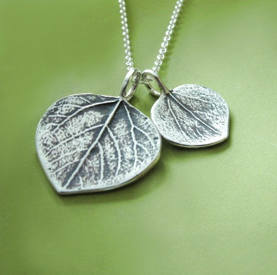 Mother and Child Aspen Leaf Necklace  Sterling Silver by esdesigns, $48.00