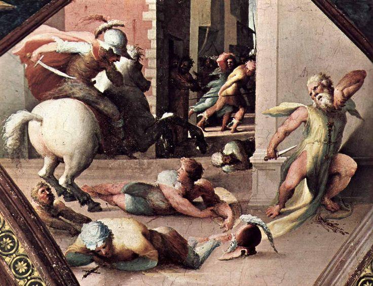Доменико Беккафуми . «Самоубийство Катона Утического» 1524-25  Фреска. Сиена. Палаццо Казини Казуччини.