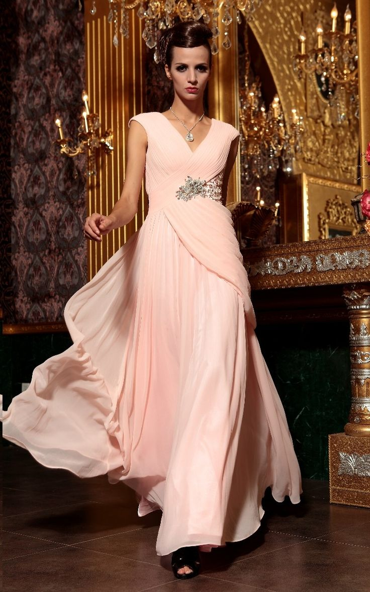 plus size Pale pink slim long evening dress