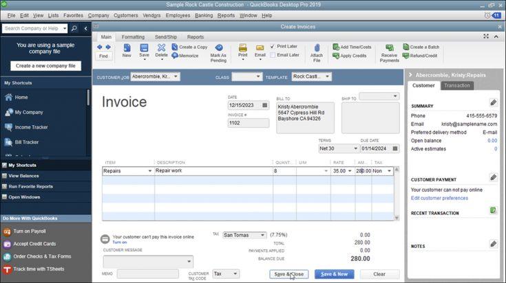 Create an Invoice in QuickBooks Desktop Pro Instructions