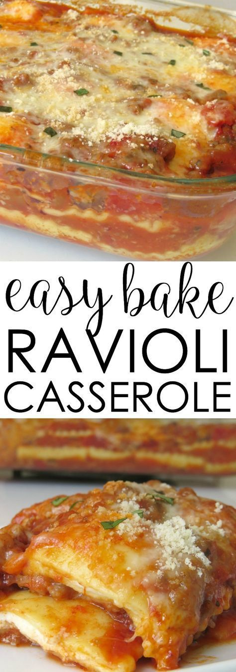 Everyone will devour this Easy Bake Ravioli Casserole recipe. Its a pasta lovers dream thats loaded with pasta and cheese and baked in one pan. casserole recipes baked ravioli recipe