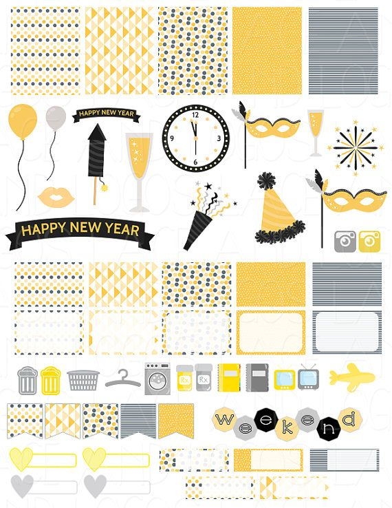 Printable Planner Stickers New Years Eve Silver by