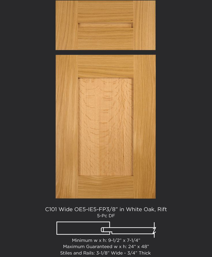 """Versatile transitional rift white oak cabinet door with 3-1/8"""" wide stiles and rails by TaylorCraft Cabinet Door Company"""