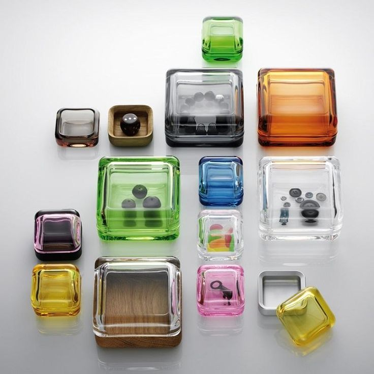 """Awarded the prestigious iF Golden Design Award in 2012 Iittala's Vitriini are glass prisms in which to store your treasures. """"Vitriini"""" is a Finnish word for a glass display cabinet."""