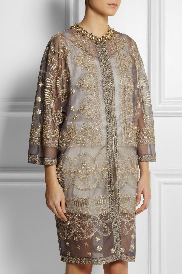 Biyan|Manteau de soirée en organza de soie à ornements Raya|NET-A-PORTER.COM