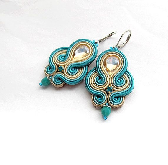 Turquoise Soutache  Earrings Hand Crafted Jewelry by IncrediblesTN, $29.00