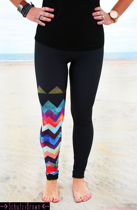 #styleideaLEGGING - 'MONTAUK Chevron' Style Legging for SURF, Yoga, Running, Biking, sup,