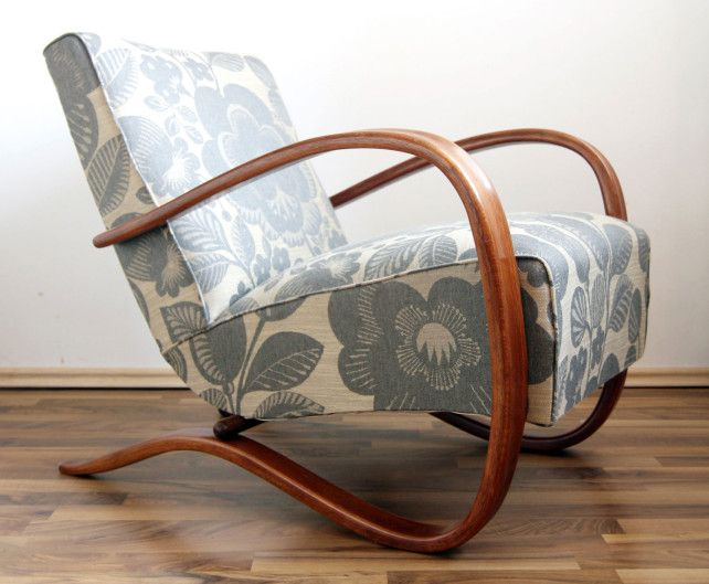 The legendary Halabala H-269 chair by Jindrich Halabala. Restored by young team of RETRONAUT in Czech Republic - they collect old chairs and give them second life. The bent beechwood frame of this designer chair has been fixed, tinted and finished in matte. Backrest springs are original, seat springs have been replaced and tied manually. High quality upholstery fabric was imported from England.