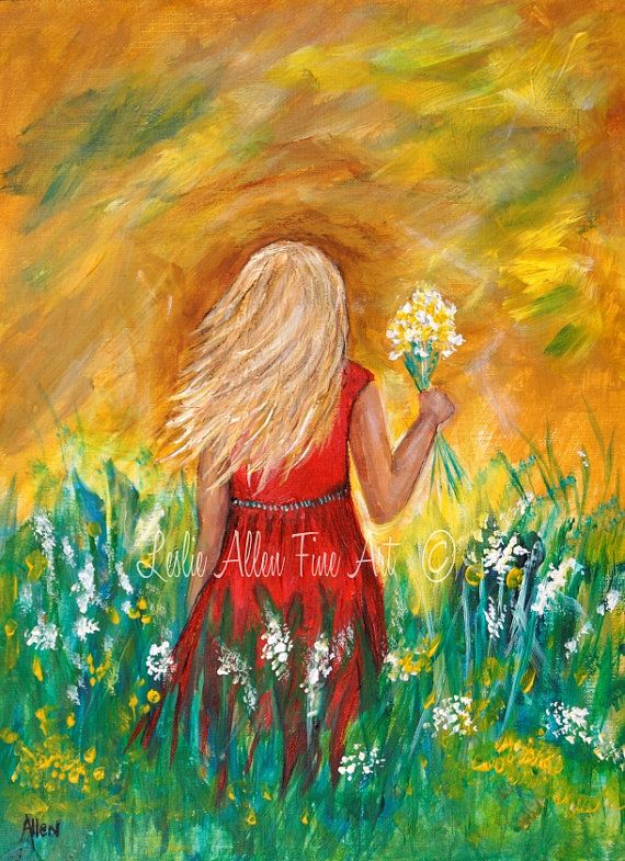 Girl Painting Children Child Picking Flowers Field Wall