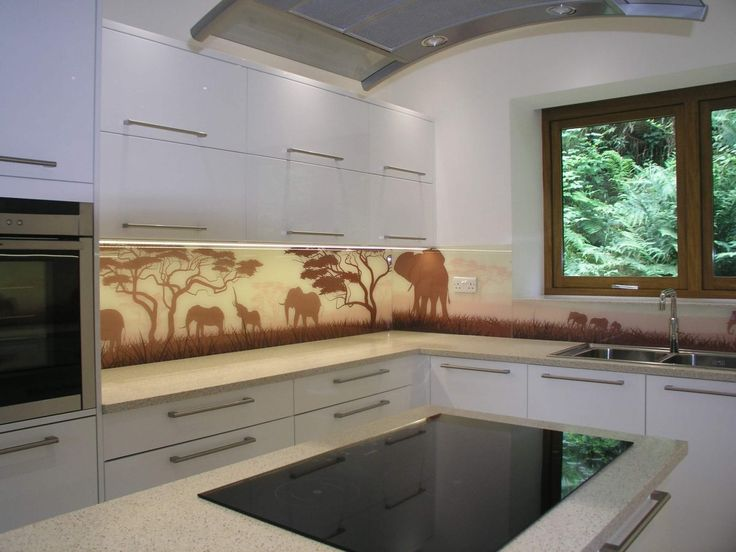 www.glassrepublic.co.uk   Illustration of Elephants in the Serengeti Digitally Printed Glass Splashback. Toughened Glass Kitchen Splashback.