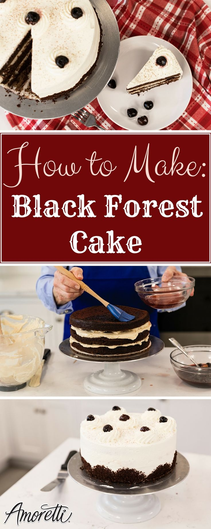Black Forest Cake Recipe. When a recipe starts with drunken cherries, you know it's going to be good! Add in chocolate, espresso, and kirsch and we're looking at a stunning centerpiece for your next celebration.