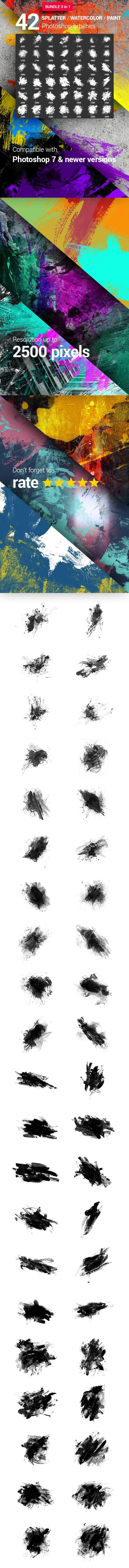 42 Watercolor Splatter Paint Photoshop Brushes Bundle — Photoshop ABR #stain #photoshop • Download ➝ https://graphicriver.net/item/42-watercolor-splatter-paint-photoshop-brushes-bundle/20195275?ref=pxcr