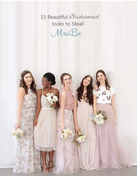 We're all about gorgeous, ethereal and floaty bridesmaids dresses at the moment, and are loving collections of perfectly mismatched bridesmaids by Dessy, Jenny Yoo and BHLDN. For beautifully beaded gowns you cannot go wrong with Adrianna Papell, a designer who's popping up in fine art weddings all over the world at the moment.