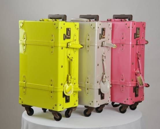 New Fashion Bright Color Vintage Trolley Luggage Hard Case Luggage Sale