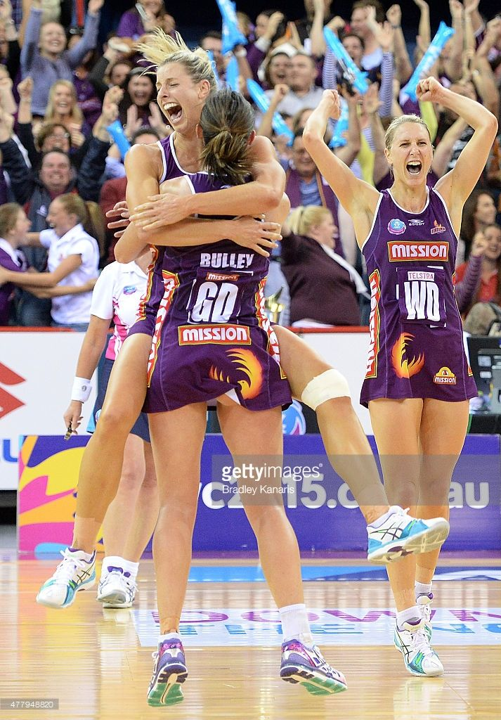 Laura Geitz of the Firebirds and Rebecca Bulley celebrate victory after the 2015 ANZ Championship Grand Final match between the Firebirds and the Swifts at Brisbane Entertainment Centre on June 21, 2015 in Brisbane, Australia.