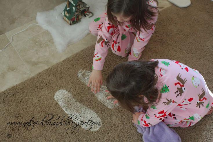 Santa's footprints. Baking soda + glitter...just another way to make Christmas morning
