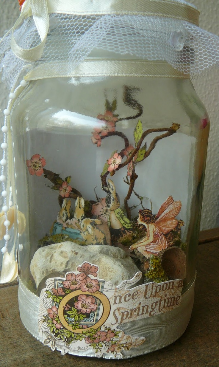 Easter Altered jar with captured fairy - cute idea, love how versatile this is, since paper elements are used in a 3-d environment  ***************************************