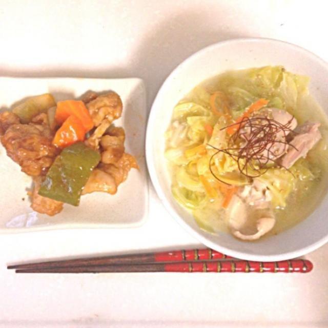 白湯スープにゎ鶏モモとキャベツが大量にはいってます✨ 酢豚ゎちょっと酢が足りなかったかなぁ… - 7件のもぐもぐ - 白湯スープ♡酢豚 by tasuyan