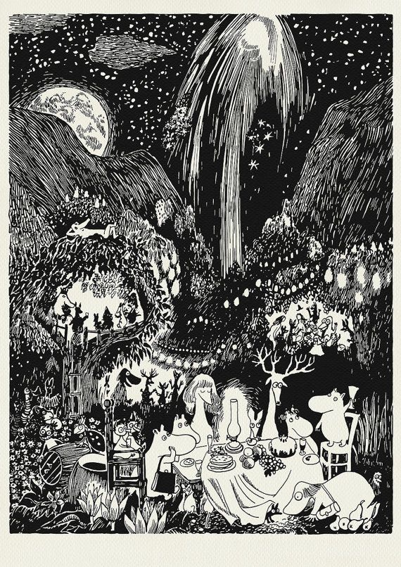 Great Party in Moominvalley A3 POSTER Vintage by PikkuMyyPL