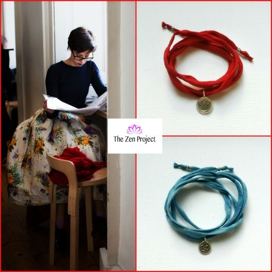 Silk wrap bracelets in red and blue. Silver pendants. * Design by The Zen Project