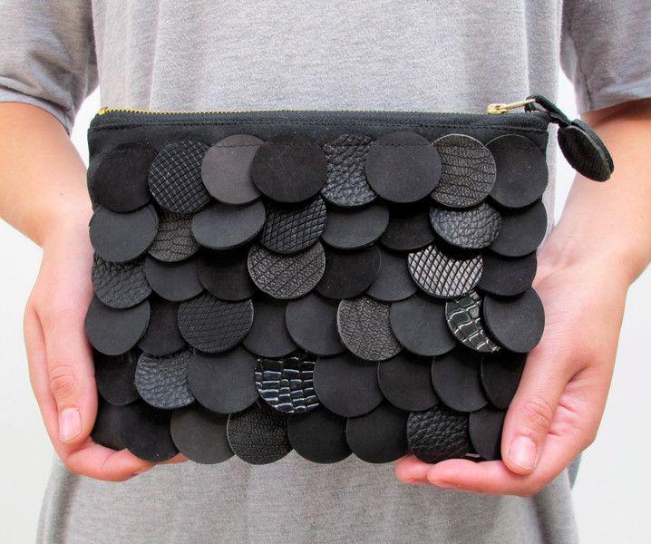 Astucci per trucchi - geometric leather bag with black scales - un prodotto unico di StAnderswo su DaWanda