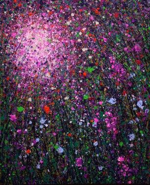 Luminous Ways No 0102 - oil on canvas with glitter, 120 x 100cm 2014 by Milly Martionou