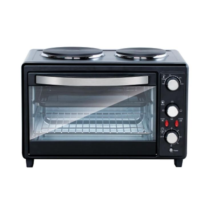 NutriChef PKRTO28 Multifunction Kitchen Oven, Countertop Rotisserie Cooker with Dual Hot Plates (Multifunction Kitchen Oven), Black (Metal)