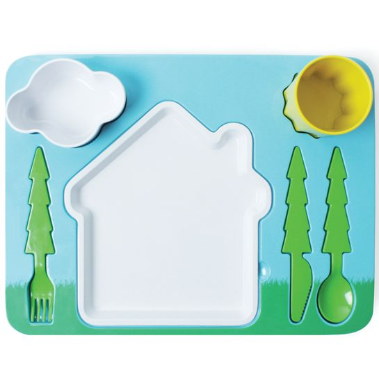 The Landscape Dinner Set is a food and drink safe melamine set for kids starting from 1 year old, inspired in the typical children´s drawings. It will help you teach your kid how to eat properly using cutlery, while playing. Moreover it helps you give them a healthy dinner, separating all the food they need in a tidy and cheerful way. -doiydesign.com $33