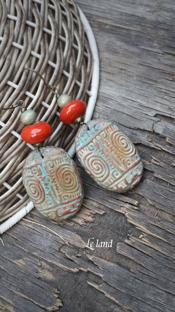 Arcilla del polímero pendientes pendientes largos por Lelandjewelry