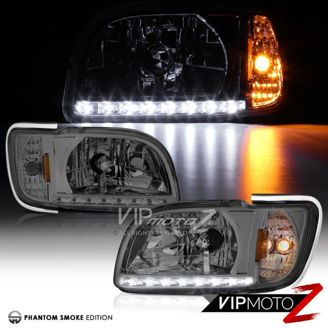 SMOKE 2001-2004 Toyota Tacoma PickUp LED Strip Signal Headlights 2.4L 2.7L 3.4L #VIPMOTOZ