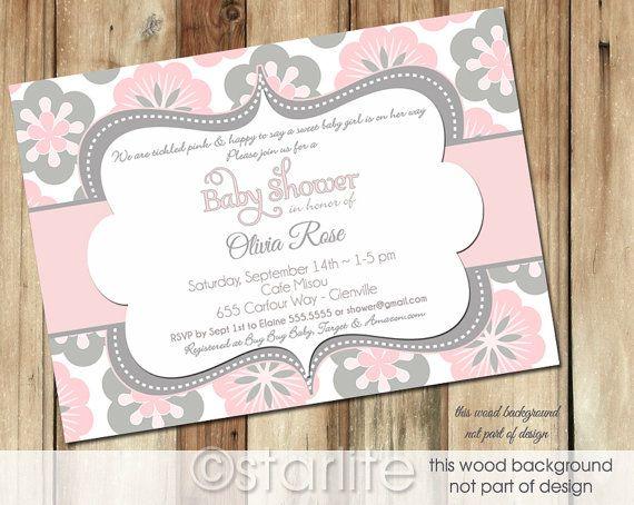 baby shower invitation pink and gray grey polka dots baby girl