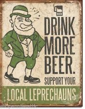 Bar Man Cave Irish Support Leprechaun Drink More Beer Notre Dame Tin Sign