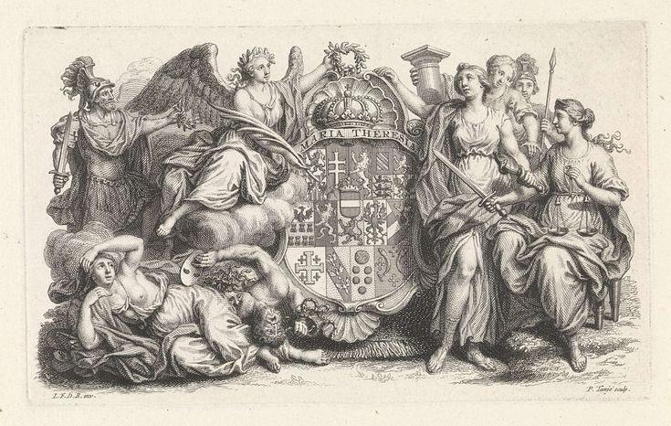 Pieter Tanjé   Wapen van Rooms-Duits keizerin Maria Theresia, Pieter Tanjé, 1716 - 1761   Het wapenschild van Rooms-Duits keizerin Maria Theresia wordt door Faam met een lauwerkrans gekroond. Zij staat op de Afgunst en de Nijd. Links van Faam staat Mars. Rechts staan de kardinale deugeden Voorzichtigheid, Kracht en Rechtvaardigheid.