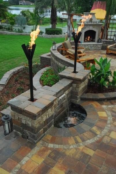 """Permanent Patio Lights operate on either propane or natural gas. Available in all five head styles shown and complete with 2 36"""" poles and an 18"""" pole base to b #deckideas"""