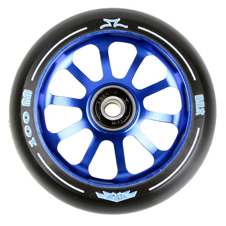 #AO Scooters AO Delta 2017 10 Hole 100mm Scooter Wheel - Blue #Features:6061 T6 Aluminum Spoked CoreSuper High Rebound PU, 88ATiten ABEC 7 BearingsLifetime Warranty Against DehubbingEach comes with an extruded aluminum core, black urethane and redesigned wheel graphics, specific to each core color. The AO Delta wheel ships complete with Titen ABEC7 Bearings and bearing spacers pre-installed. Lifetime warranty against dehubbing.Price is per wheel