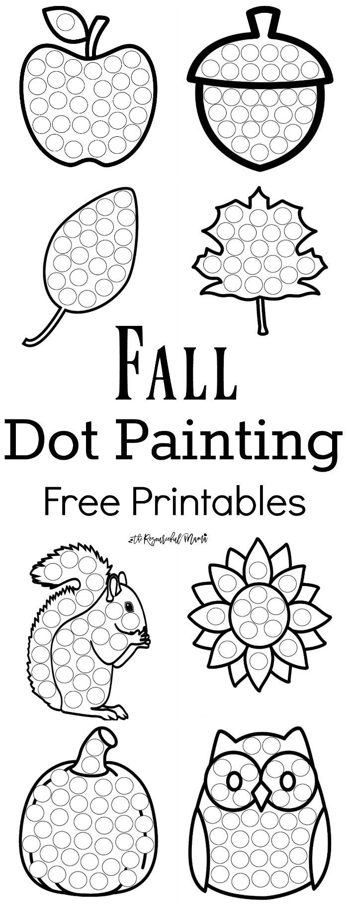 These Fall Dot Painting worksheets are a fun mess free painting activity for young kids that work on hand-eye coordination and fine motor skills. Grab your free printable now! Toddlers and preschoolers love them. They work great with Do a Dot Markers.