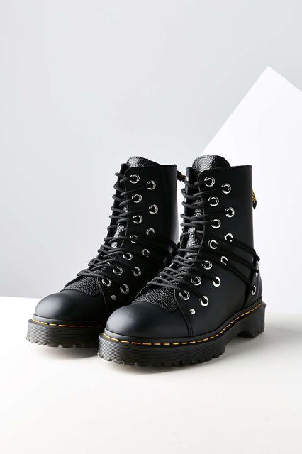The extra eyelets and creative lacing put a cool twist on this classic. Dr. Martens Daria Multi-eye Combat Boot, $165, available at Dr. Martens. #refinery29 http://www.refinery29.com/best-womens-ankle-boots#slide-7