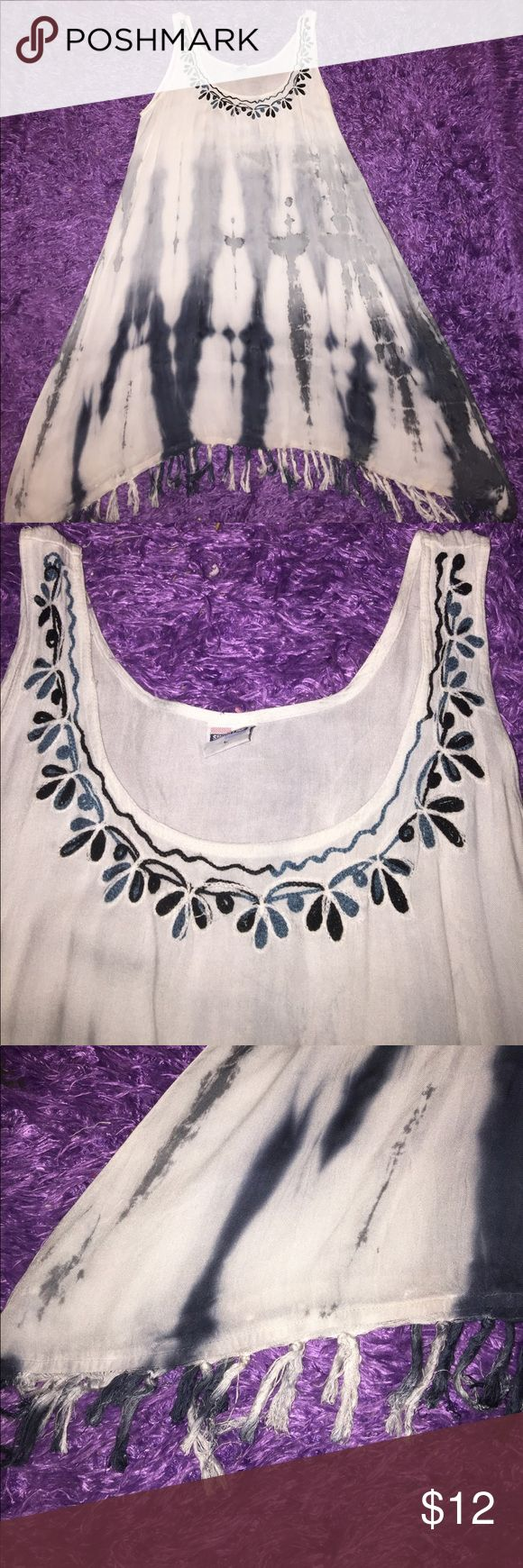 Tie-dye long tunic top with fringe detail Pretty tank style long tunic top with flower embroidery at neckline and tassel hem. Great top to pair with leggings. Great condition. shoreline Tops Tunics