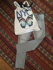 Girls Summer Outfit Benetton Gray Jeans L 8/9 yrs & Bershka NYC Butterfly Top S