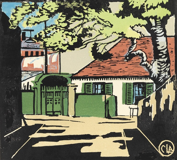 The House with green shutters Linocut by Curzona Frances Louise Allport (1860-1949)