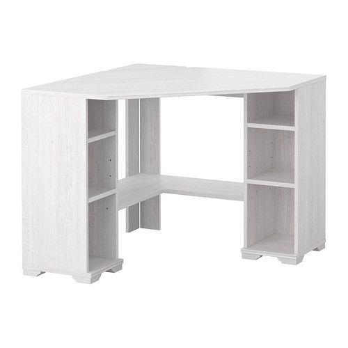 BORGSJÖ Corner desk, white white 36 5/8x36 5/8