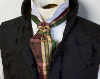 FORMAL Victorian Ascot Tie Cravat - Emerald Gold Plum Plaid Dupioni SILK