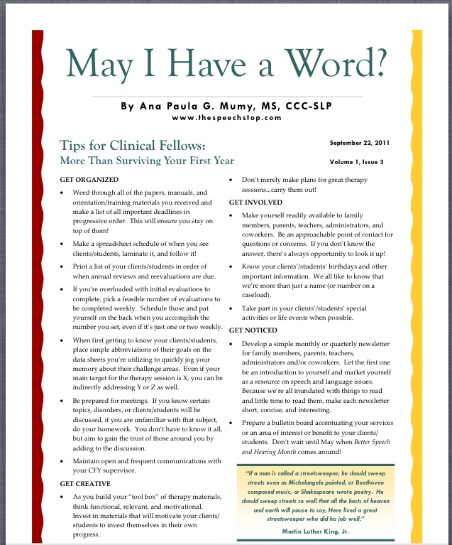 Tips for Clinical Fellows by Ana Paula G. Mumy, MS, CCC-SLP.  Pinned by SOS Inc. Resources http://pinterest.com/sostherapy.