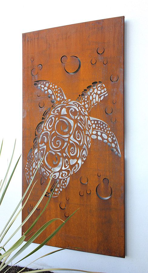 sea turtle panel- I bet we could do this with a thin peice of wood and the dremmel! @Kevin Bobbett