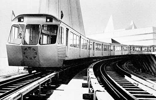 """""""Expo Express"""", the Monorail system at Expo was a free transportation system that connected Place d'Accueil (the entrance) with the Ile Sainte-Helene, Ile Notre-Dame and La Ronde (amusement area). These large Canadian built trains by Hawker Siddeley (the company built the Toronto subway about the same time on a similar design), was a """"true steel wheel on rail"""" system."""