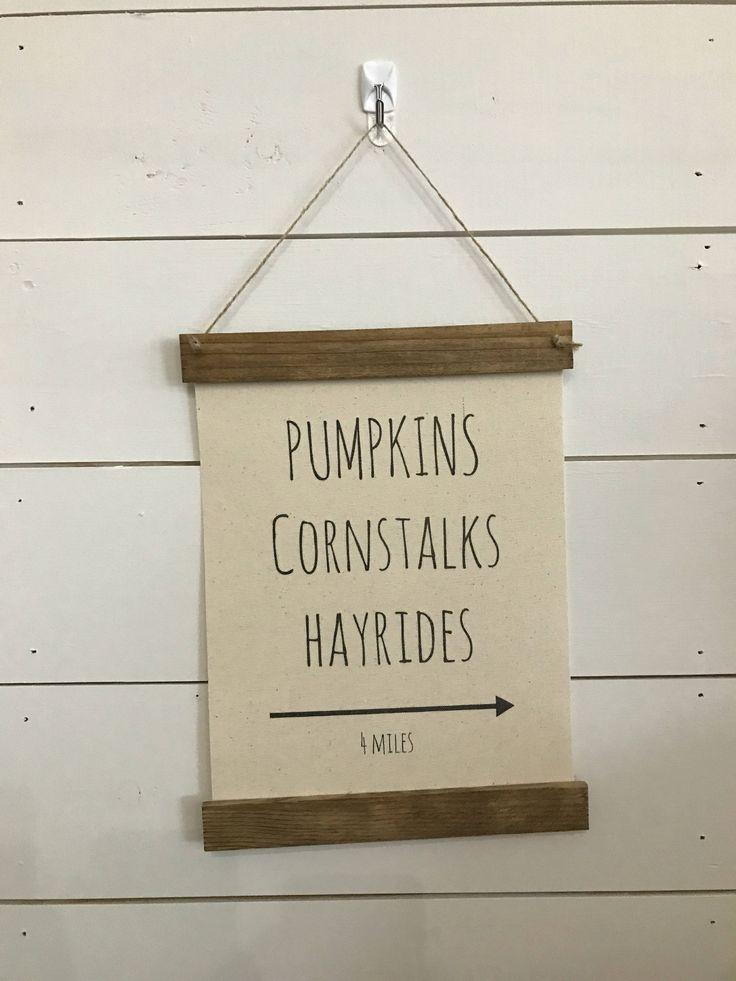 PUMPKINS CORNSTALKS HAYRIDES fall autumn banner pennant football Canvas Wood Wall Hanging Sign Ready to Ship by TheSignYardStudio on Etsy