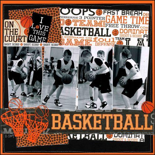 Basketball Layout : Sports Scrapbook Supplies at Scrappin` Sports Stuff