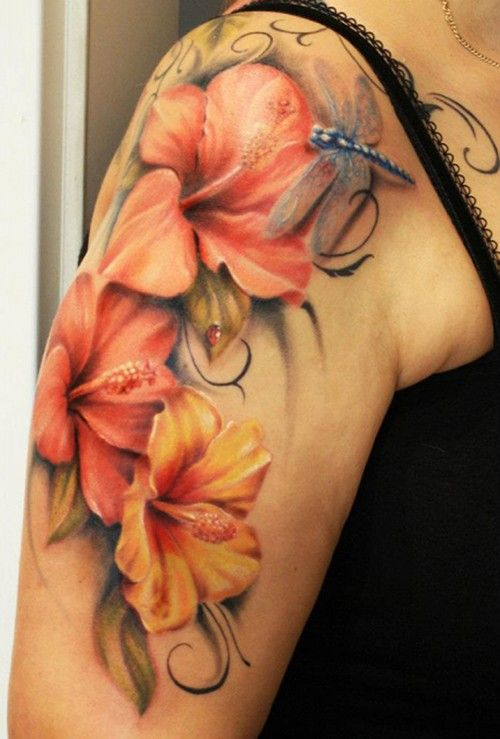 awesome sleeve flower dragonfly watercolor tattoo for cool girls