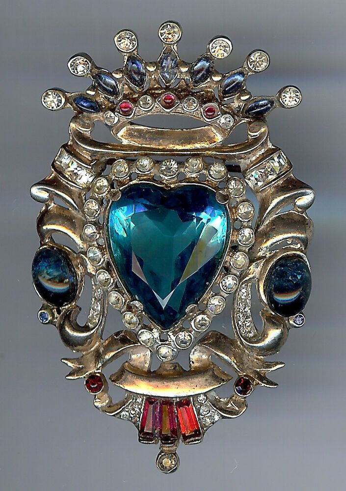 24646d0fe CORO CRAFT VINTAGE STERLING RHINESTONE FACETED BLUE GLASS HEART CROWN PIN  BROOCH