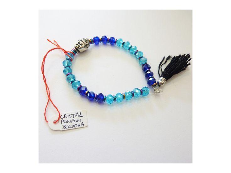 Bracelet Cristaux, Bouddha & Pompom